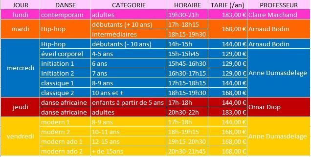 Tableau horaires et tarifs 21 22